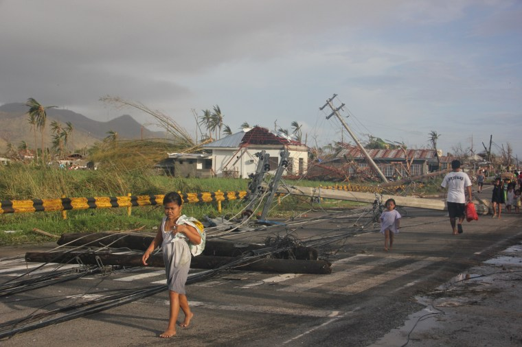 Immediate needs are water, hygiene and sanitation (WASH), food, medicines, shelter, psychosocial support, flashlights, debris clearance, logistics and communications.  Access is a major challenge because of debris blocking the roads and a non-functional Tacloban airport. Photo credit: Save the Children