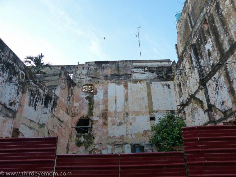 Building renovation in Old Havana Cuba