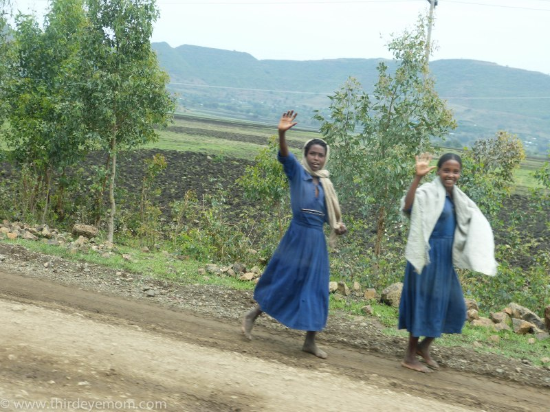Women waving Ethiopia