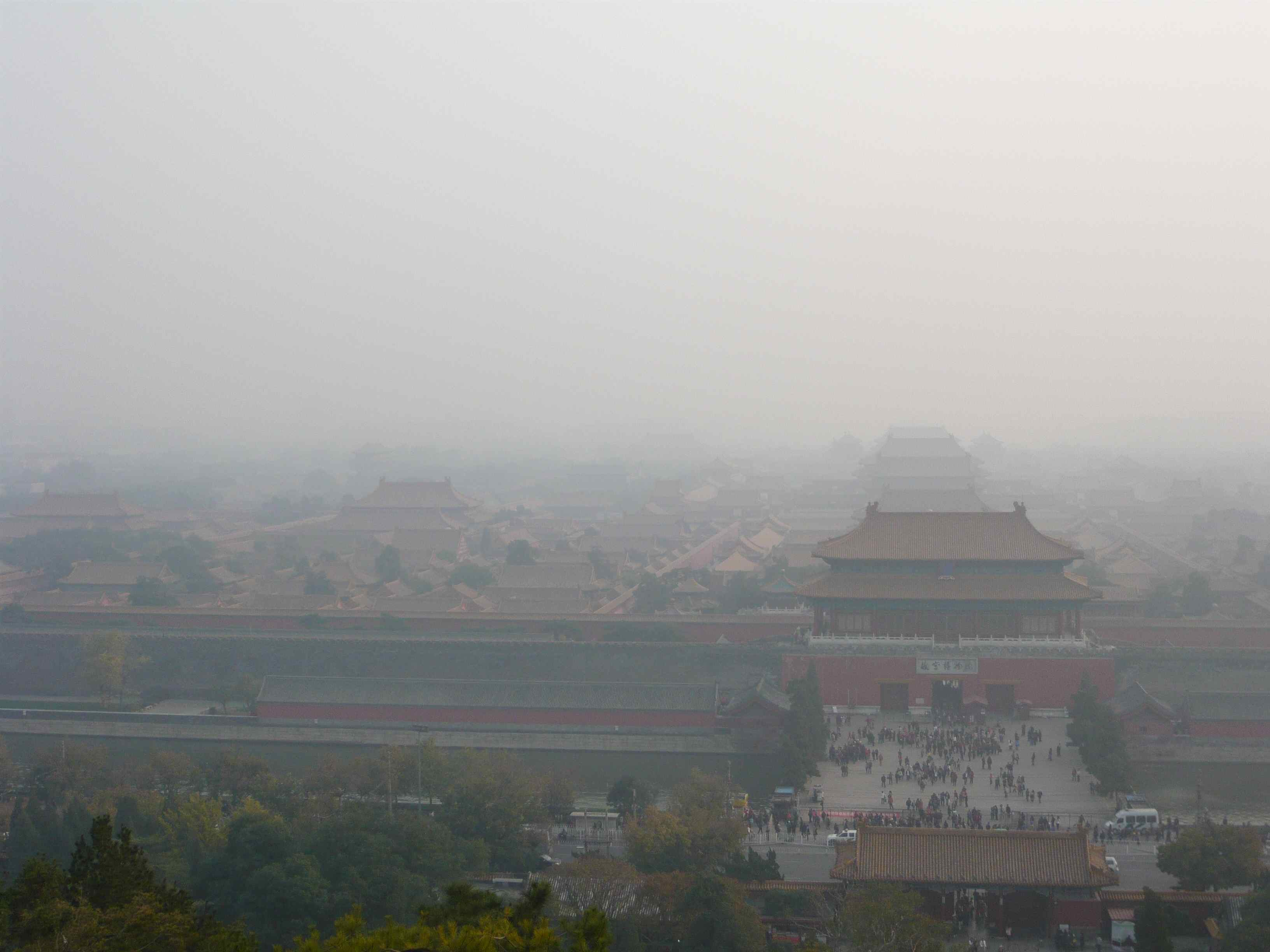 The thick smog of pollution blanketing the Forbidden City in Beijing