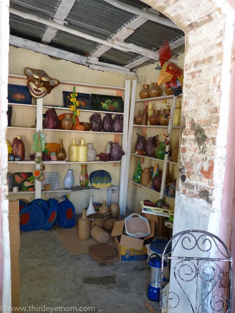 studio of Papier-mâché artisan Pierre Satyr in Jacmel, Haiti