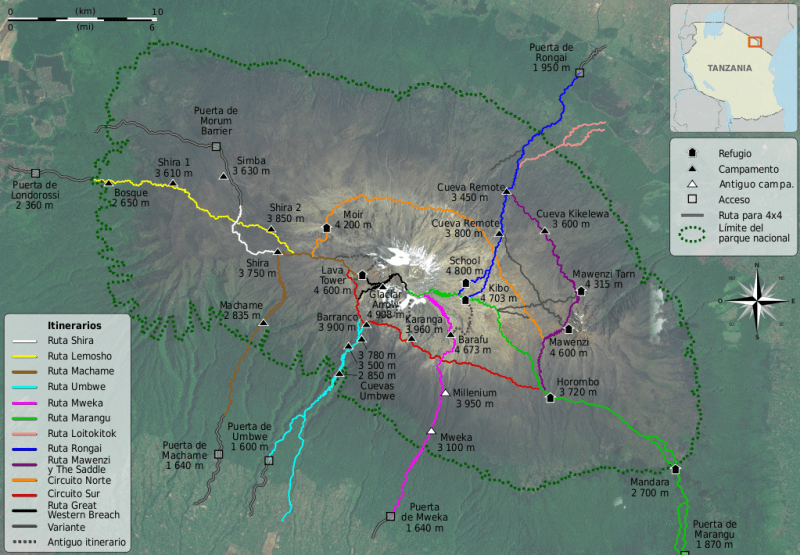 Mount Kilimanjaro Climbing Routes (Source: Wikipedia Free Commons)
