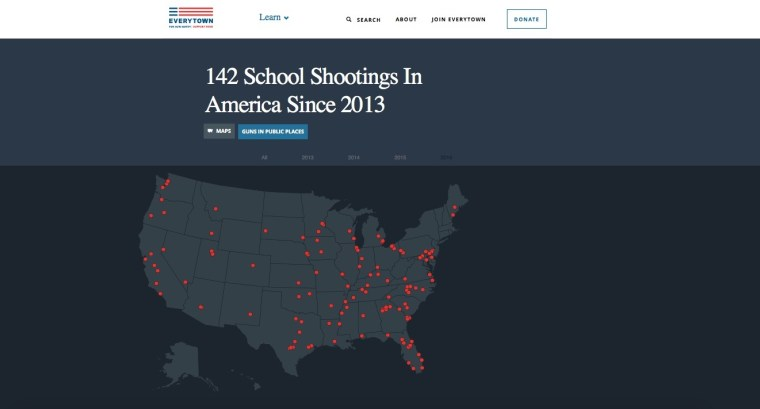 """Per Everytown for Gun Safety: """"Since 2013, there have been at least 142 school shootings in America — an average of nearly one a week. How many more before our leaders pass common-sense laws to prevent gun violence and save lives? Communities all over the country live in fear of gun violence. That's unacceptable. We should feel secure in sending our children to school — comforted by the knowledge that they're safe."""