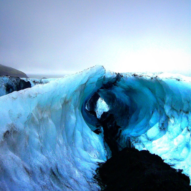 The amazing ice formations on a glacier