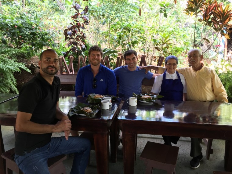 Lokal Co-Founders Eytan Elterman and Dave Koken share a meal at the Nacientes Palmichal rural tourism project in central Costa Rica. Nacientes Palmichal offers local lodging options, cooking classes, hiking, and farm visits/cow milking lessons.