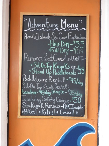 "The ""Adventure"" Menu and price list"