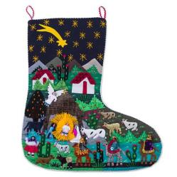 Handcrafted Andean Applique Christmas Stocking, 'Village Nativity'