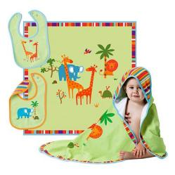 Bright Colorful Animals Add a Touch of Adventure, 'Safari Bib & Blanket Set'