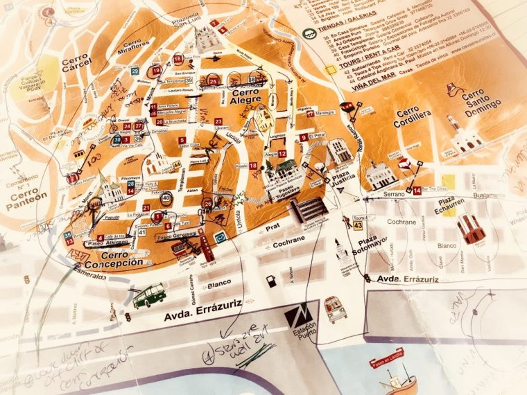 Marked up map of Valparaiso, Chile