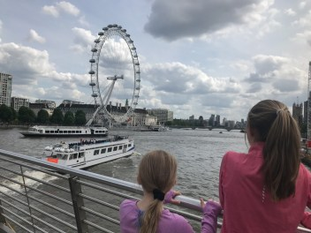 The girls marveling at the London Eye