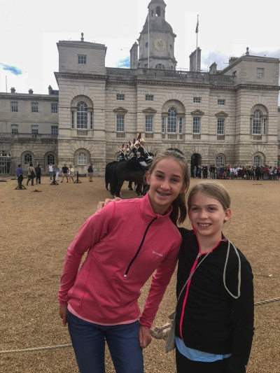 My niece Hanna and daughter Sophia at the changing of the guards