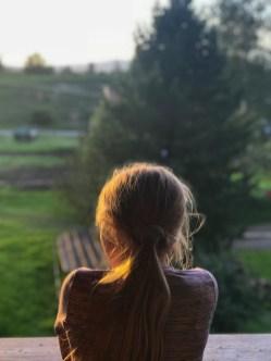 Sophia gazing out into the horizon