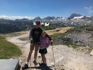 Max and Sophia with their hiking poles
