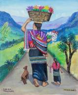 Novica Woman Goes to Sell Flowers Signed Folk Art Painting of a Flower Seller from Guatemala