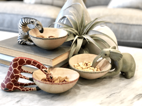 Hand Carved & Fair Trade African Animal Bowls, Buy as a set of three or individually.10% goes to help Animal Conservation in Africa! 1 Bowl- $38.00 - Set of 3 Bowls- $103.00