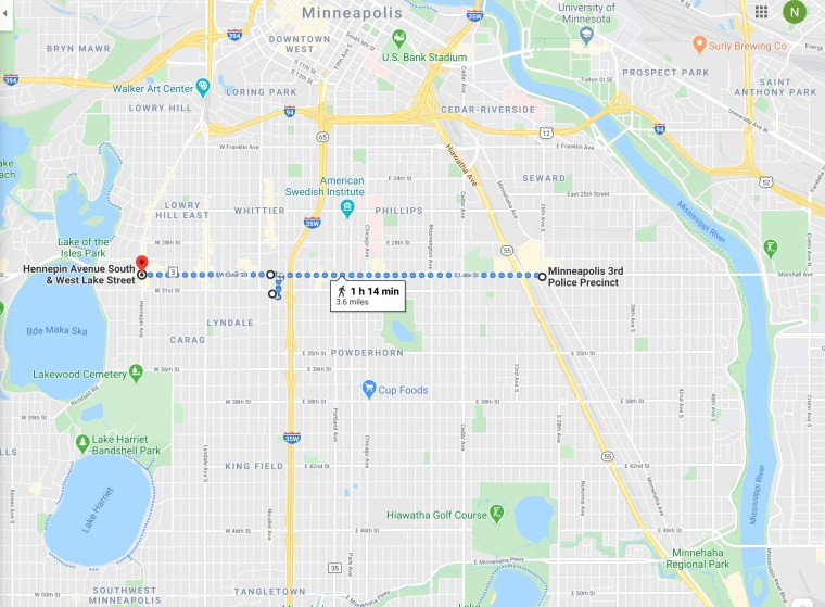 Map of George Floyd Protests in Minneapolis