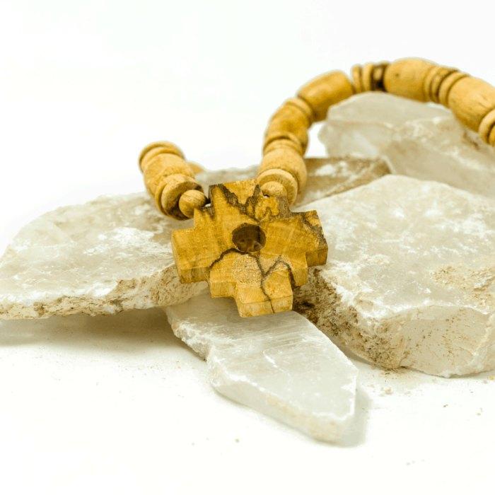 third eye wood palo santo chakana necklace