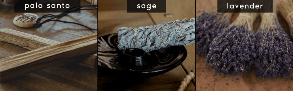 palo santo sage and lavender are common sacred smudging herbs