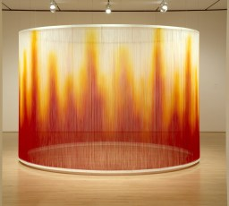Teresita Fernández, Fire, 2005; silk yarn, steel armature, and epoxy; 96 x 144 in. (243.84 x 365.76 cm); Collection SFMOMA, Accessions Committee Fund purchase; © Teresita Fernández. Beyond Belief: 100 Years of the Spiritual in Modern Art. On view June 28–October 27, 2013. Contemporary Jewish Museum, San Francisco.