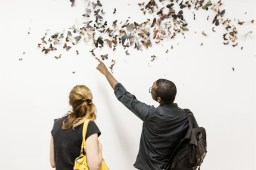 Visitors discover an art installation at Eli Ridgway Gallery