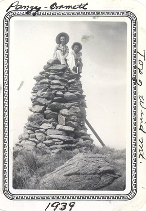 Jr and Pansy top of Wind Mountain 1939