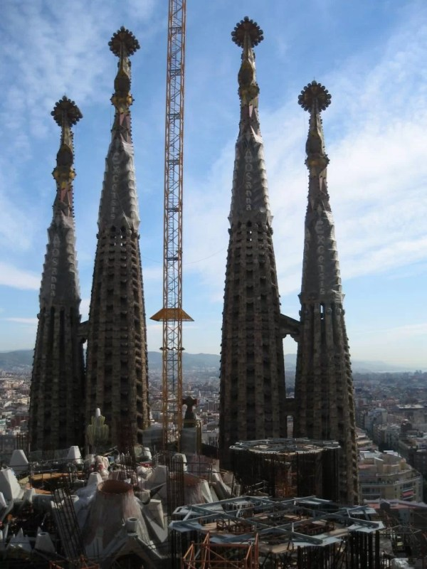 view of spires from Sagrada Familia