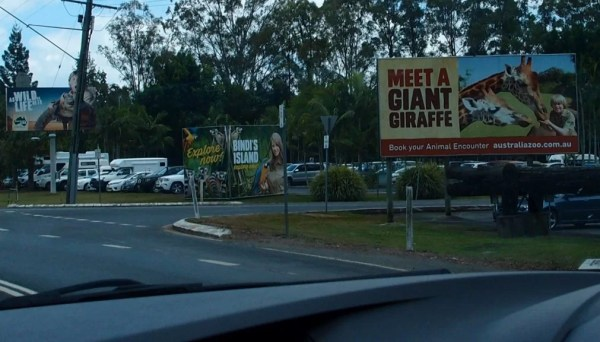 signs approaching the Australia Zoo