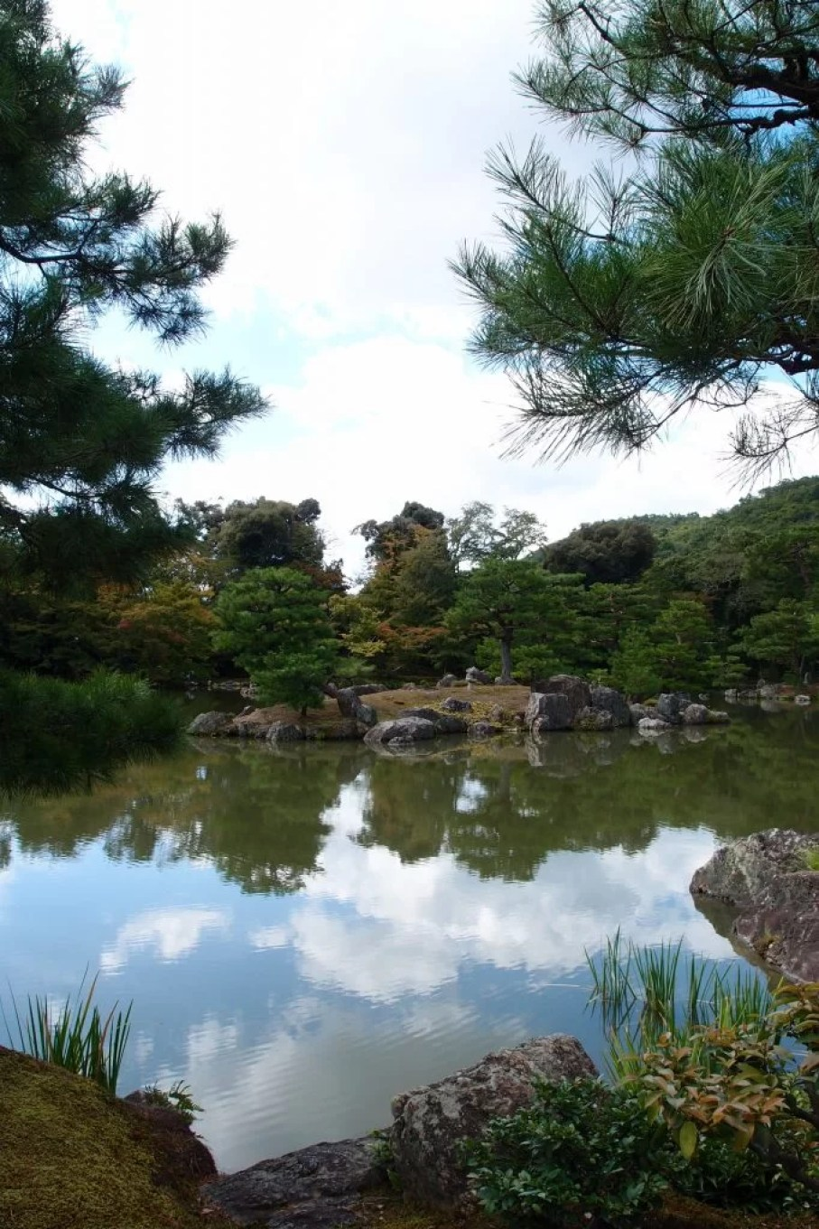 Golden pavilion lake view Kyoto