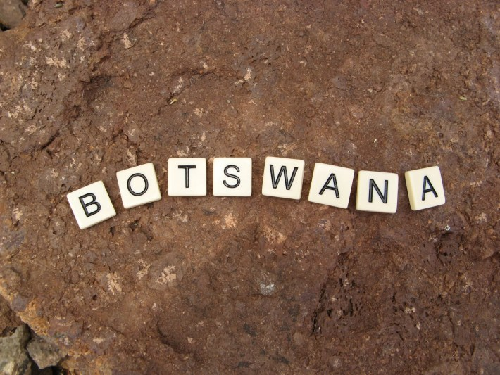 Botswana spelled out in tiles