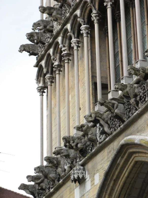 close-up of gargoyles on Church of Notre-Dame of Dijon