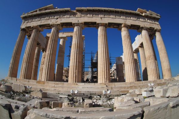 Parthenon with fish eye lens, Greece