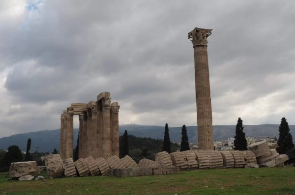Fallen column at the Temple of Olympian Zeus, Greece