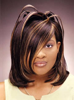 Blonde Highlight Layered Black Weave Hairstyles