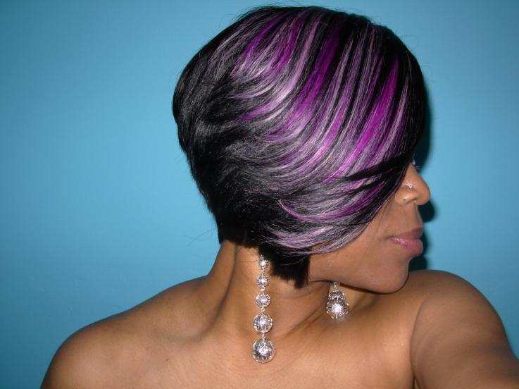 Raymona Hairstyles With Wigs Purple Feathered Haircut