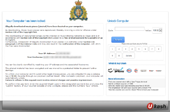Royal Canadian Mounted Police Your Computer Has Been Locked Virus