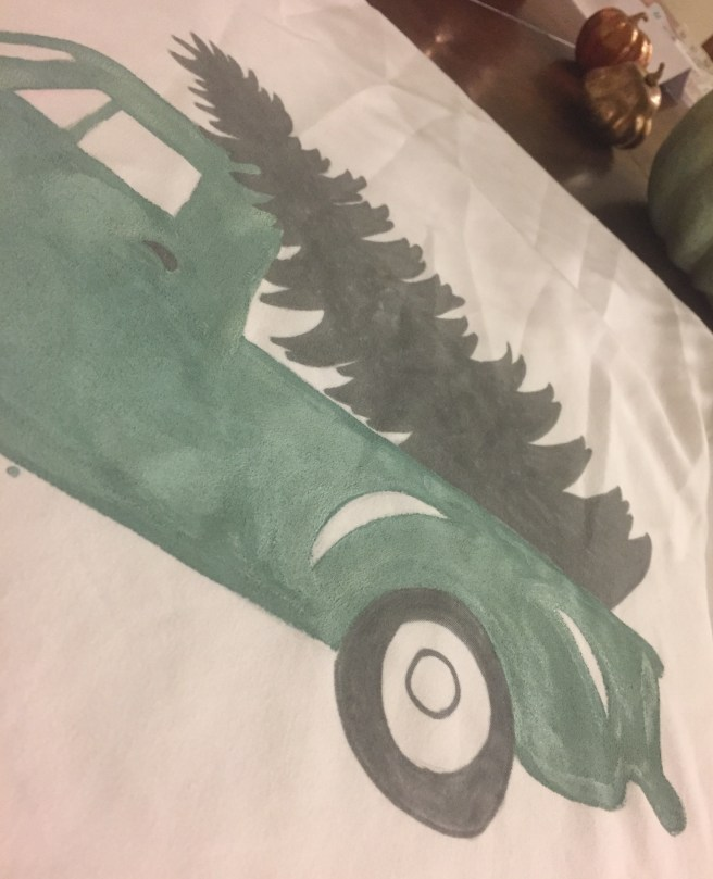Holiday truck pillow