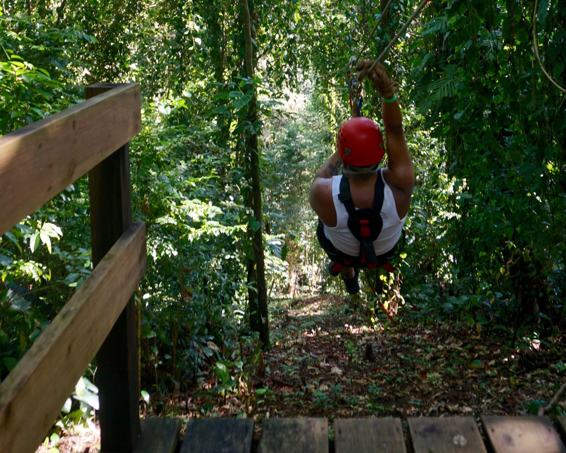 Zip line at Red Frog Beach