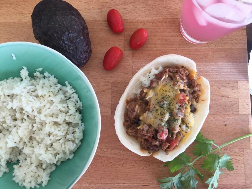 Ground Beef Taco Bowls with Old El Paso Taco Boats Flour Tortillas, 8 Ct