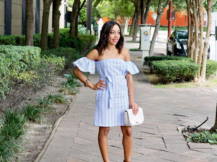 Pinstripe Off The Shoulder Dress