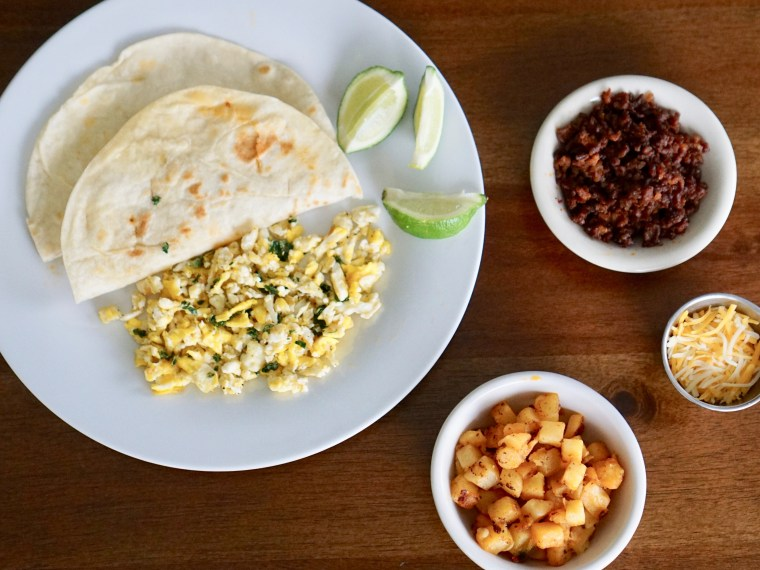 Easy Breakfast Recipe: Chorizo, Egg & Potatoes Tacos