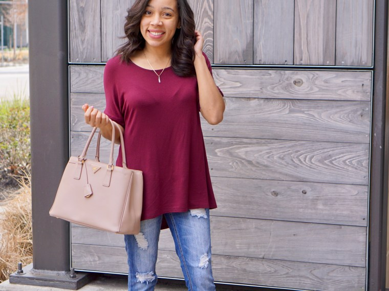 Wine Tunic and Distressed Denim