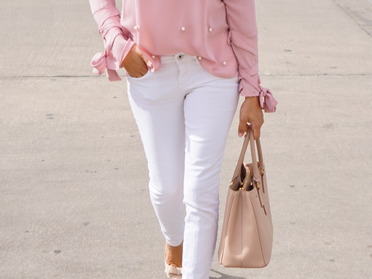 Valentine's Day Look; Pearl Beaded Blouse