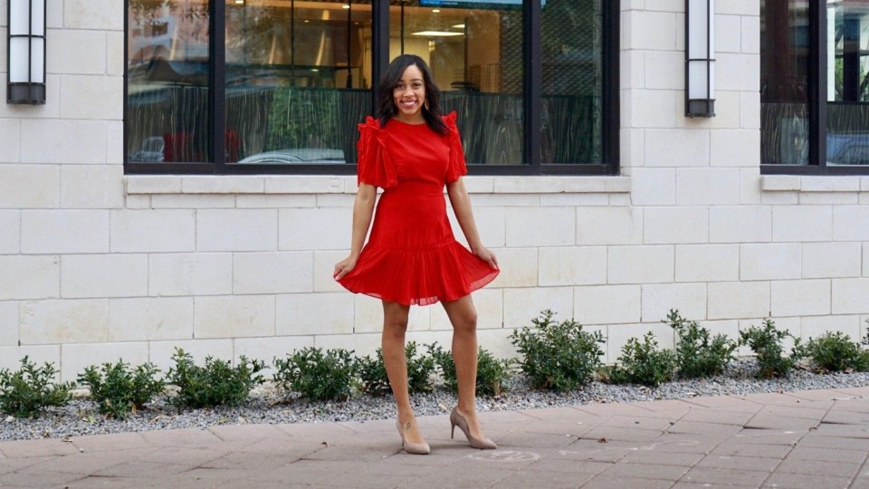 Valentine's Day Dresses, Dresses, Dress, Lady in Red, Red Dress, Valentine's Day, Valentine's, Style Inspo, #styleinspo, Style, Ruffles, Red Dress, Pleaded, Skirt, Red Outfit, What to wear,