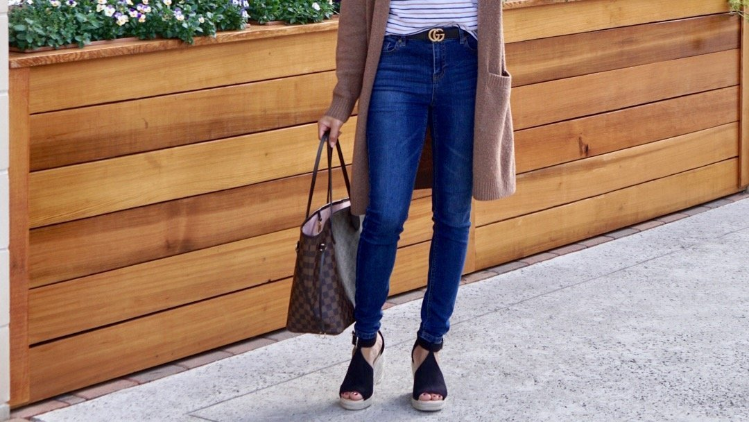 winter to spring outfits 2019, Spring Momiform Outfits, Winter to Spring Transitional Momiform Outfit, momiform, spring, cardigan, tee, t-shirt, jeans, wedges, espadrilles, amazon, kroger, kroger dip, #styleinspo, style, fashion, blogger style, junior outfit ideas, outfit ideas, mom outfits, chic and casual, casual style, street fashion,