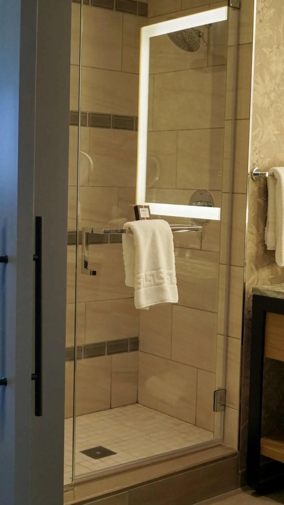 spacious shower at the Omni Barton Creek Resort & Spa in Austin