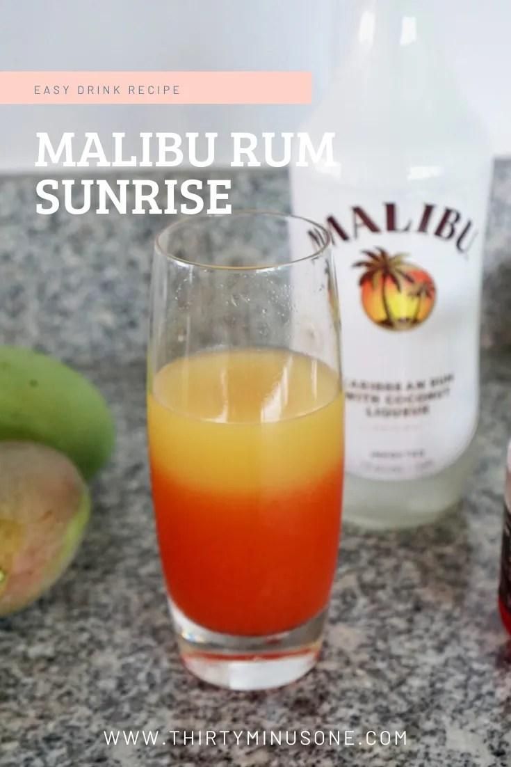 Malibu Sunrise, Malibu Rum, Rum Recipes, Delicious Rum Recipe, Three Ingredient Recipe, Easy Drink Recipe