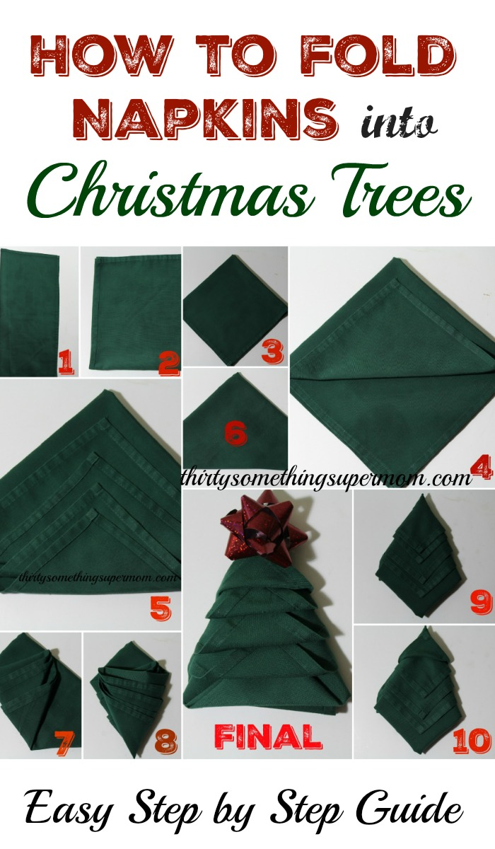 How to Fold Napkins into Christmas Trees & How to Fold Napkins into Christmas Trees - ThirtySomethingSuperMom