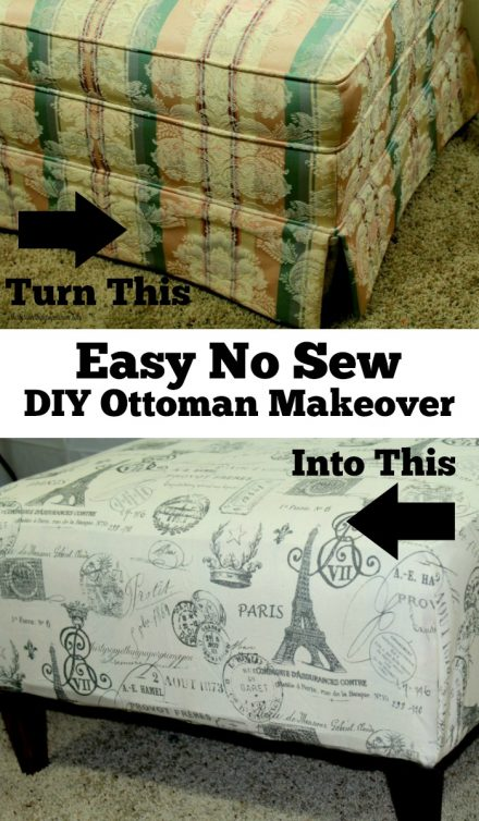 No Sew DIY Ottoman Makeover