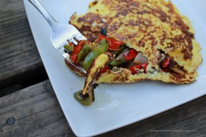 Cheesy Omelet with Peppers and Onions