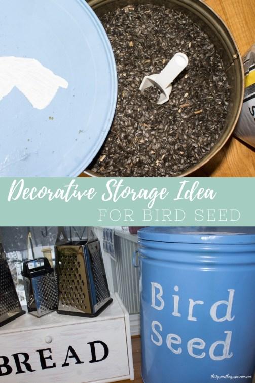 DIY Decorative Bird Seed Storage